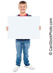 garçon, entiers, whiteboard, longueur, tenue, vide, portrait