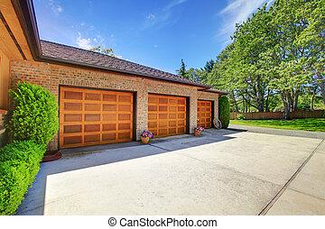 garage, bois, trois, portes, luxe