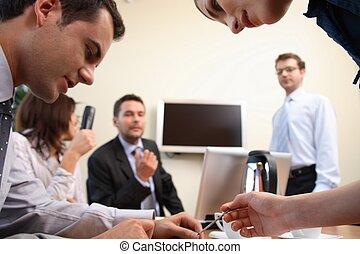 gens, action, brainstorming., bureau affaires