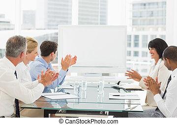 gens, applaudir, business, w, vide