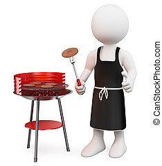 gens., blanc, 3d, barbecue