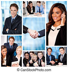 gens, collage., groupe, business