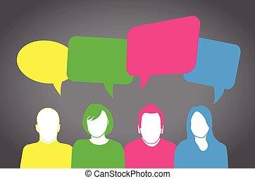 gens, coloré, parler