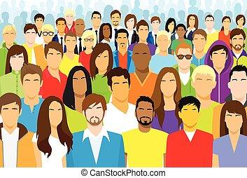 gens, ethnique, foule, désinvolte, figure, groupe, divers, grand
