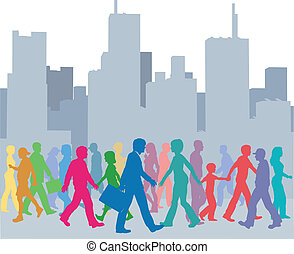 gens, foule, promenade, ville, couleurs