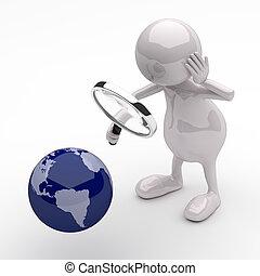 gens, globe, verre, la terre, magnifier, 3d