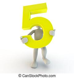 gens humains, caractère, nombre, jaune, tenue, petit, cinq, 3d