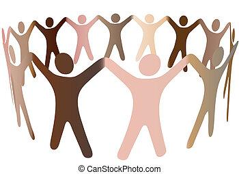 gens humains, divers, tonalités, peau, anneau, mélange