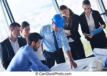 gens, ingénieurs, réunion, business
