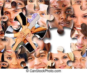 gens, morceaux, business, puzzle, groupe