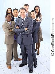 gens, multi, business, mélangé ethnique, adultes, constitué, équipe