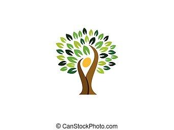 gens, naturel, nature, wellness, logo, symbole, logo, conception, santé, arbre, icône, vecteur