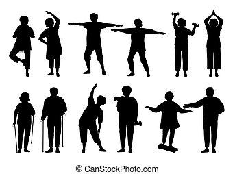 gens, noir, actif, vieux, vecteur, sain, silhouette