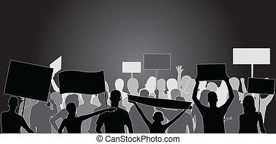 gens, noir, -, démonstration, silhouette