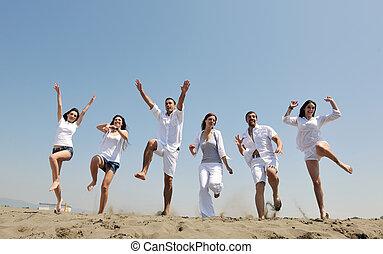 gens, plage, groupe, heureux, amusement, avoir, jeune