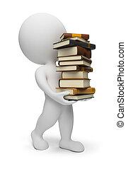 gens, porter, -, livres, petit, 3d