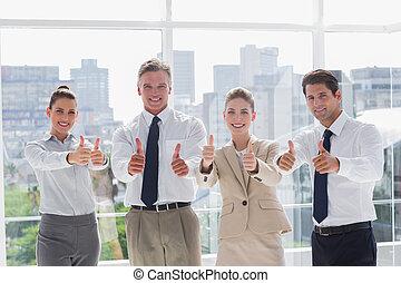 gens, pouces, équipe, business, sourire, abandon