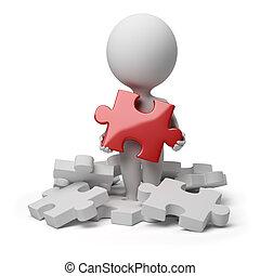 gens, puzzle, -, petit, trouvé, 3d