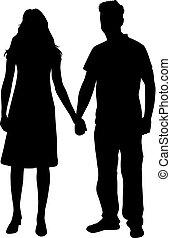 gens, silhouette., noir couple