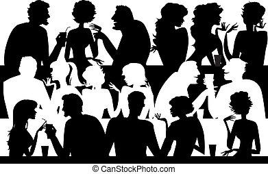 gens, silhouettes, café