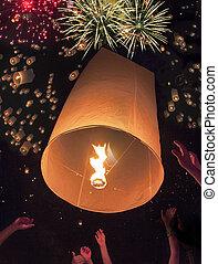gens thaïlandais, flotter, lampe