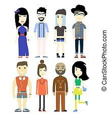 gens, vecteur, caractères, collection., ensemble, différent, illustration