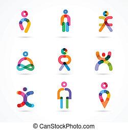 gens, vecteur, résumé, collection, coloré