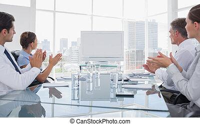 gens, whiteboard, applaudir, business, vide