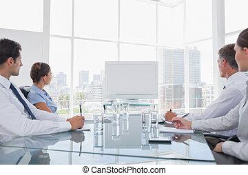 gens, whiteboard, business, regarder, vide