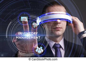 gestion, voit, réseau, fonctionnement, inscription:, concept., jeune, virtuel, business, inventaire, internet, homme affaires, technologie, réalité, lunettes