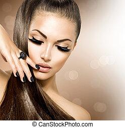 girl, cheveux façonnent, beauté, modèle, brun, sain, long
