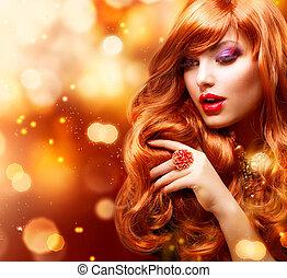 girl, cheveux façonnent, portrait., ondulé, doré, rouges