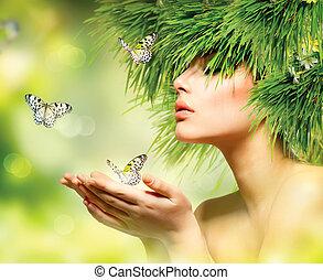 girl, cheveux, maquillage, herbe, été, woman., vert, printemps