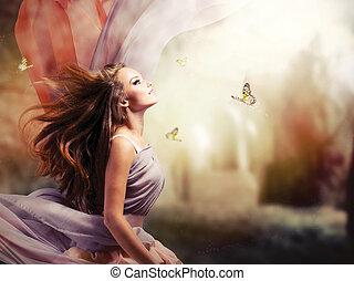 girl, fantasme, magique, printemps, jardin, beau, mystique