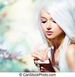 girl, flower., fantasme, printemps, rose, beau