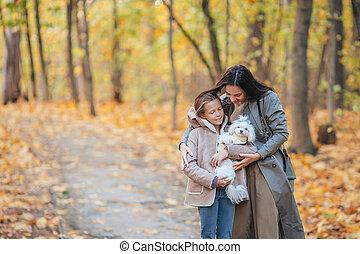 girl, jour, maman, parc, automne, dehors, peu