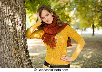 girl., magnifique, mode, automne