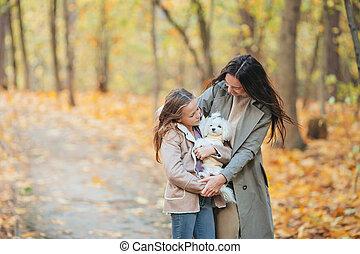 girl, maman, jour, dehors, automne, peu, parc