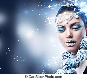 girl, maquillage, hiver, woman., noël