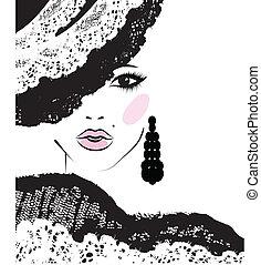 girl, mode, dentelle, illustration, chapeau