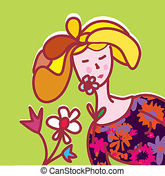 girl, mode, fleurs, carte