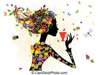 girl, mode, fleurs
