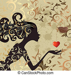 girl, oiseau, valentin