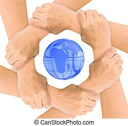 globe, mains