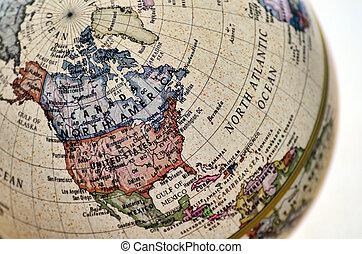 globe, nord, america.