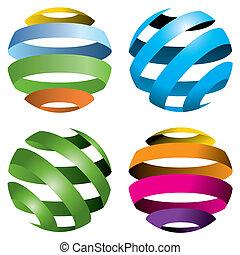 globes, vecteur, 4