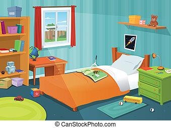 gosse, quelques-uns, chambre à coucher