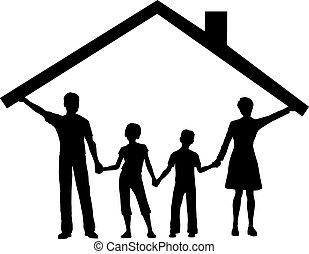gosses, famille, maison, sur, toit, sous, maison, prise