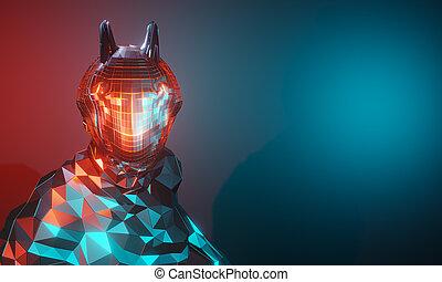 gradient, corps, tête, bleu, métal, éclat, concept., robot, rendre, moitié, technologie, connexion, avenir, arrière-plan., rouges, 3d