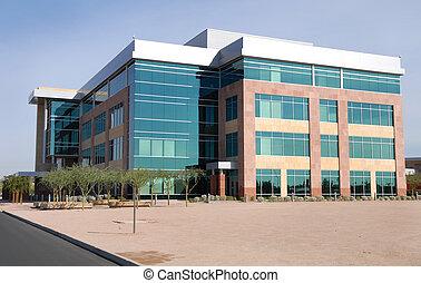 grand bâtiment, moderne, bureau